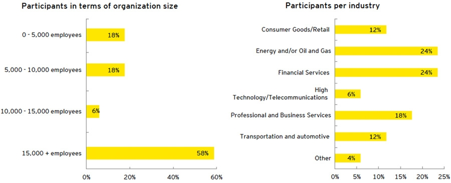 Participants in terms of organization size + Participants per industry