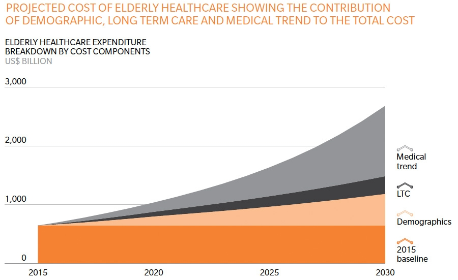 Projected cost of elderly healthcare