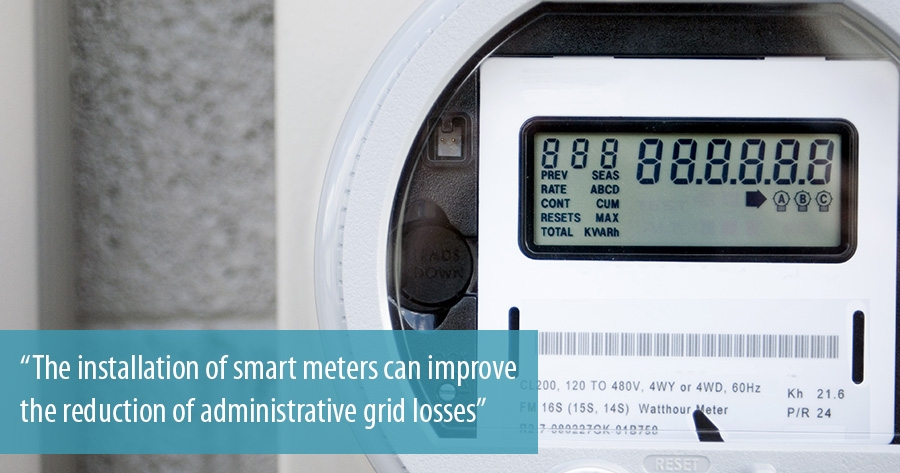 The installation of smart meters can improve the reduction of administrative grid losses