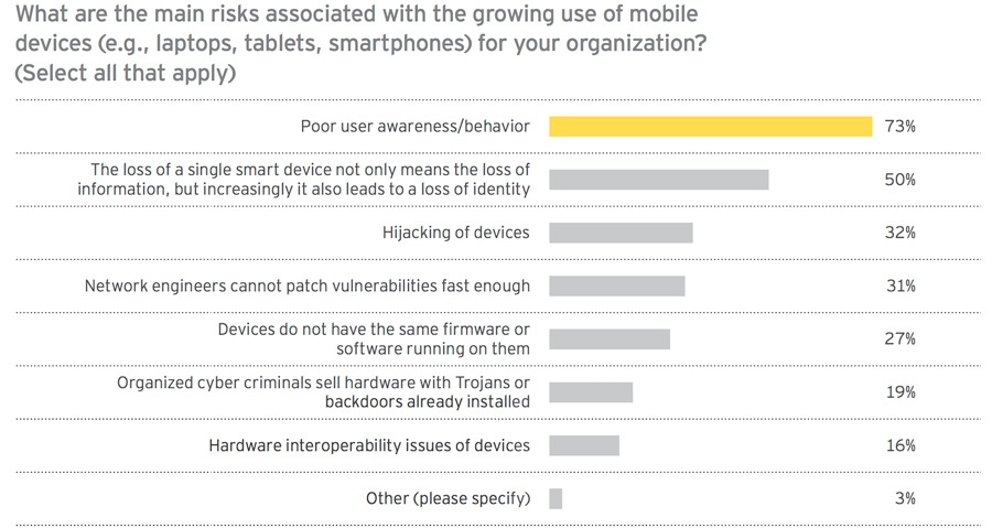 What are the main risks associated with the growing use of mobile devices for organisations