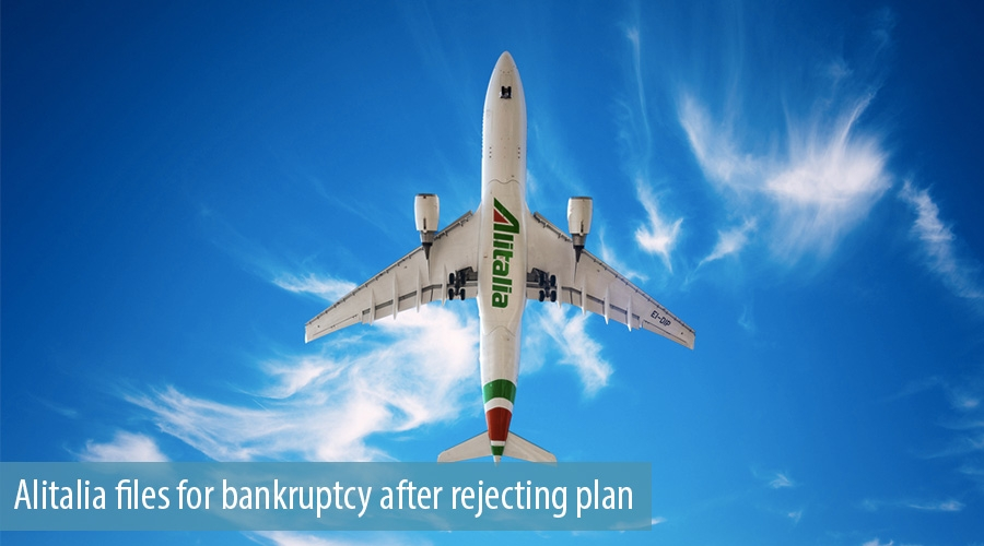 Alitalia files for bankruptcy after rejecting plan