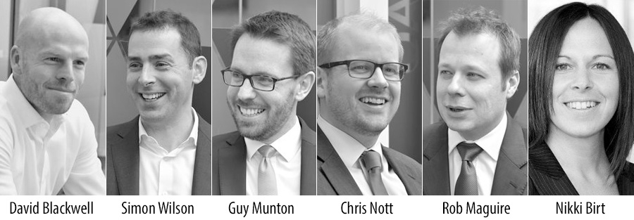 New partners at Baringa: David Blackwell, Simon Wilson, Guy Munton, Chris Nott, Rob Maguire and Nikki Birt