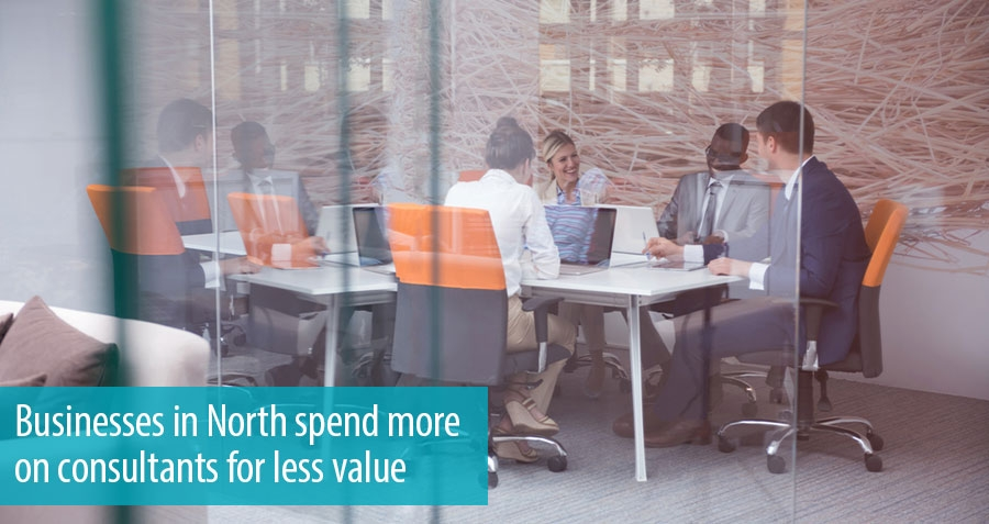 Businesses in North spend more on consultants for less value