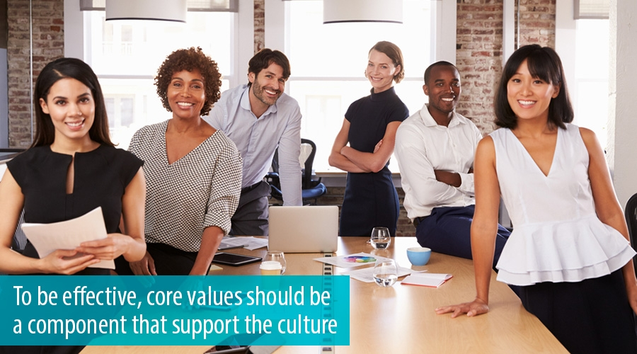 To be effective, core values should be a component that support the culture