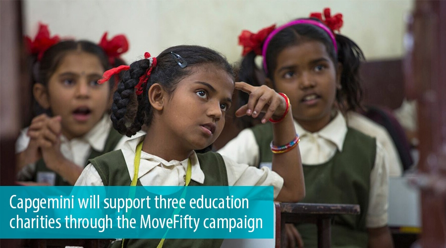 Capgemini will support three education charities through the MoveFifty campaign