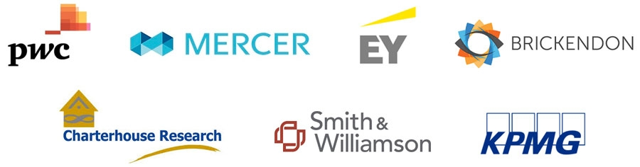 PwC, Mercer, EY, Brickendon Consulting, Charterhouse Research, Smith & Williamson, KPMG