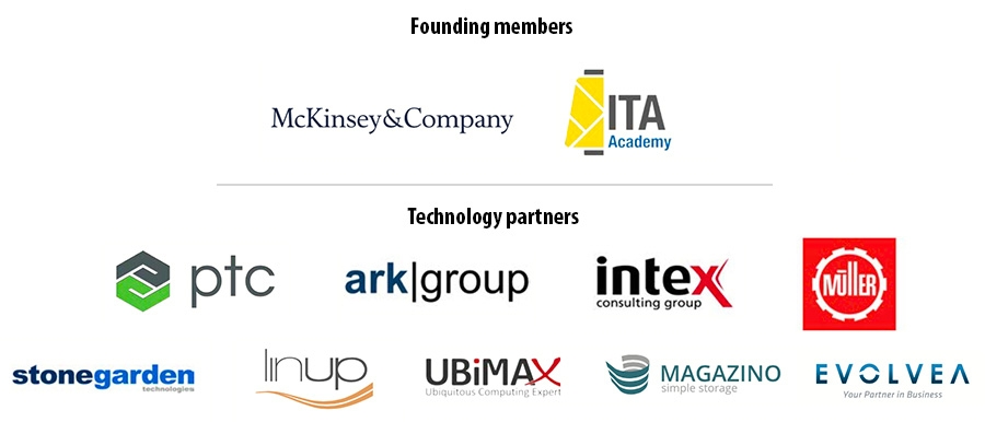 Founders McKinsey & Company and ITA Academy - technology partners PTC, ark|group, Intex, Jakob Müller, Stonegarden, LinUp, Ubimax, Magazino, and Evolvea