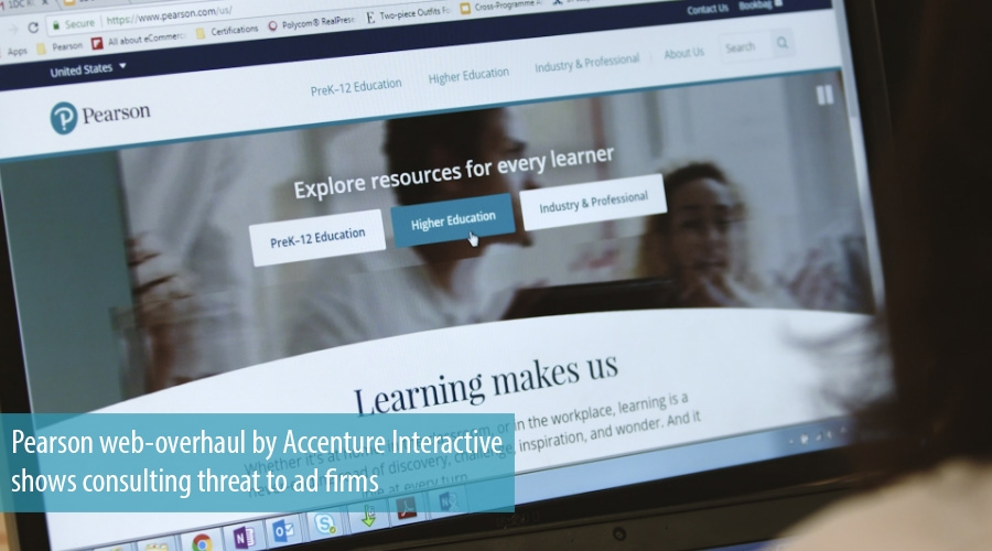 Pearson web-overhaul by Accenture Interactive shows consulting threat to ad firms