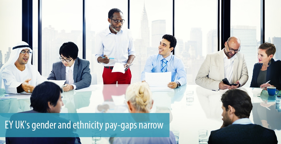 EY UK's gender and ethnicity pay-gaps narrow