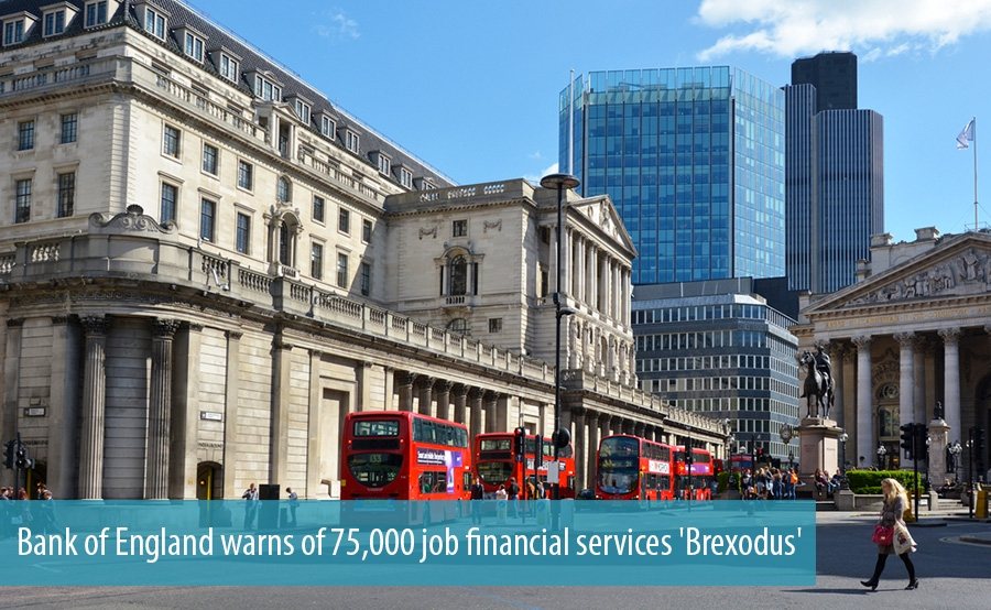 Bank of England warns of 75,000 job financial services 'Brexodus'