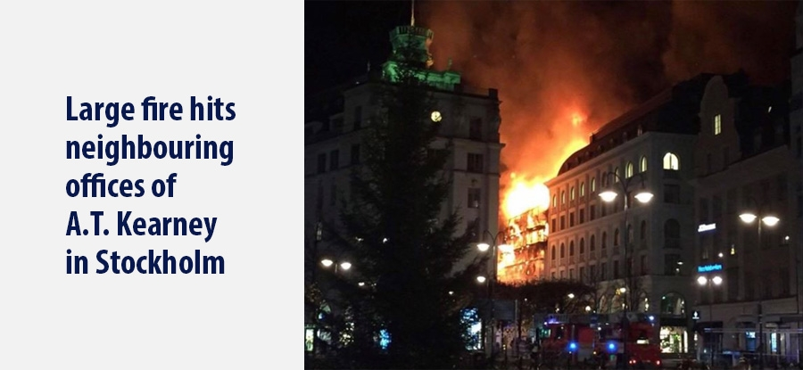 Large fire hits neighbouring offices of A.T. Kearney in Stockholm