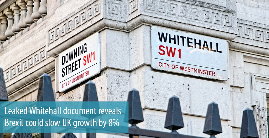 Leaked Whitehall document reveals Brexit could slow UK growth by 8%
