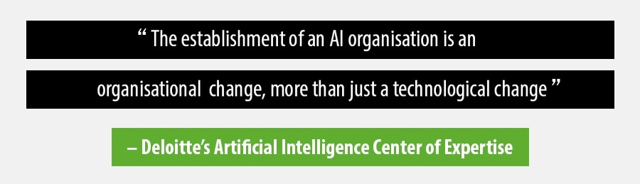 The establishment of an AI organisation is an organisational change, more than just a technological change