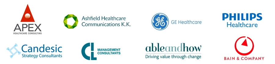 Apex Healthcare Consulting, Ashfield Healthcare Communications, GE Healthcare Partners, Philips Healthcare Consulting, Candesic, CIL Management Consultants, Able and How, Bain & Company