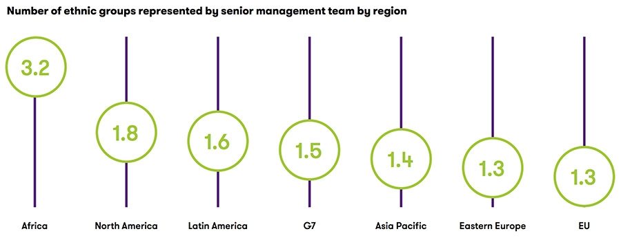 Number of ethnic groups represented by senior management team by region