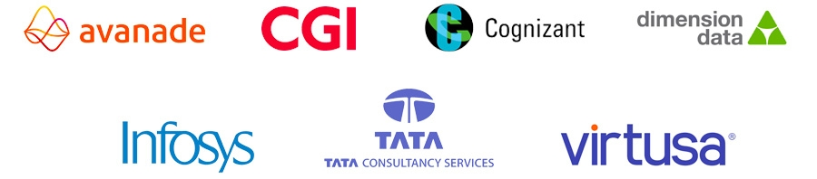Avanade, CGI, Cognizant, Dimension Data, Infosys, TCS and Virtusa