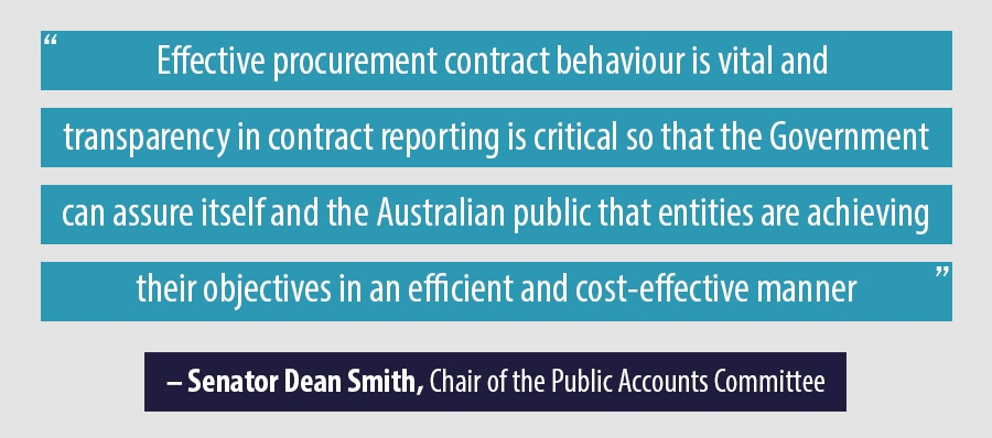 Effective procurement contract behaviour is vital and  transparency in contract reporting is critical so that the Government can assure itself