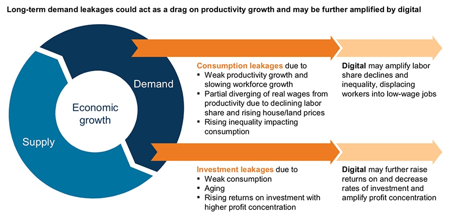 Long-term demand leakages could act as a drag on productivity growth and may be further amplified by digital