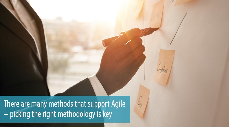 There are many methods that support Agile – picking the right methodology is key