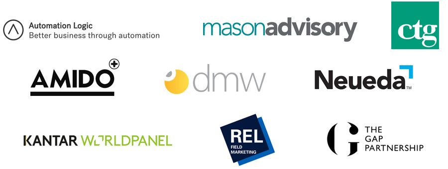 Automation Logic, Mason Advisory, Computer Task Group UK,  Amido, DMW Group, Neueda, Kantar Worldpanel, REL Field Marketing, The Gap Partnership