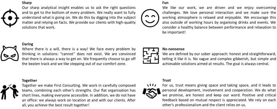 First Consulting: our Core Values