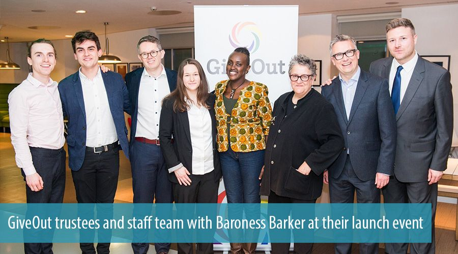 GiveOut trustees and staff team with Baroness Barker at their launch event