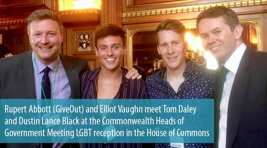 Rupert Abbott (GiveOut) and Elliot Vaughn meet Tom Daley and Dustin Lance Black