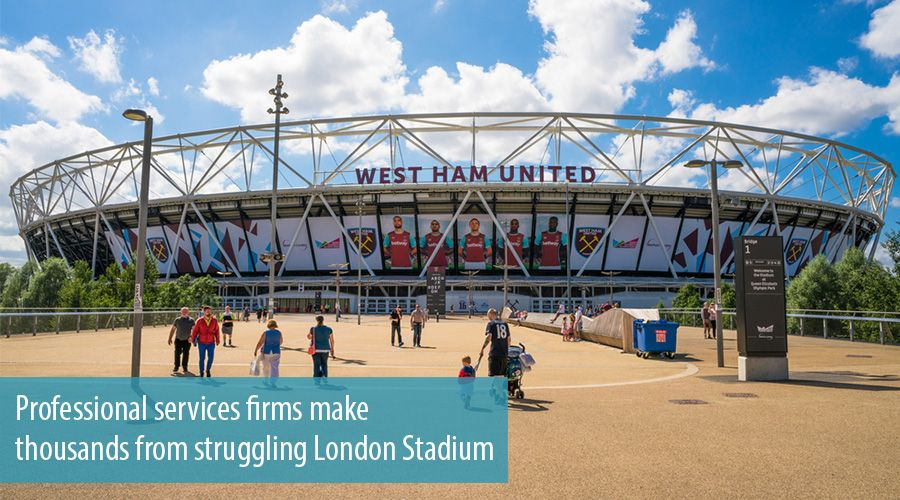 Professional services firms make thousands from struggling London Stadium