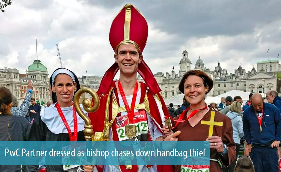PwC Partner dressed as bishop chases down handbag thief