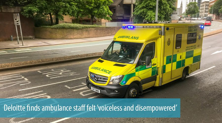 Deloitte finds ambulance staff felt 'voiceless and disempowered'