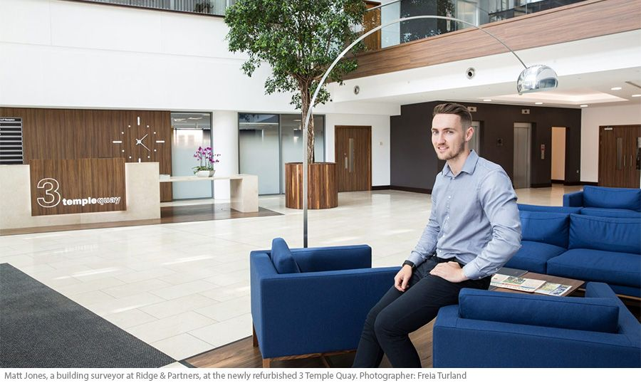 Matt Jones, a building surveyor at Ridge & Partners, at the newly refurbished 3 Temple Quay