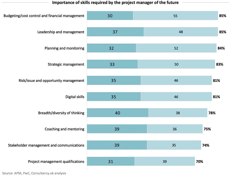 Importance of skills required by the project manager of the future