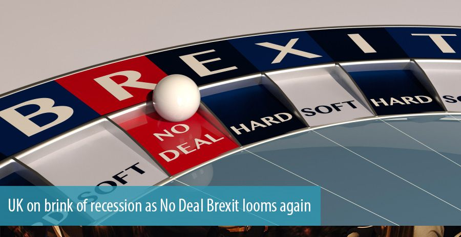 UK on brink of recession as No Deal Brexit looms again
