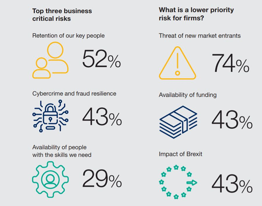 Top three business critical risks + What is a lower priority risk for firms