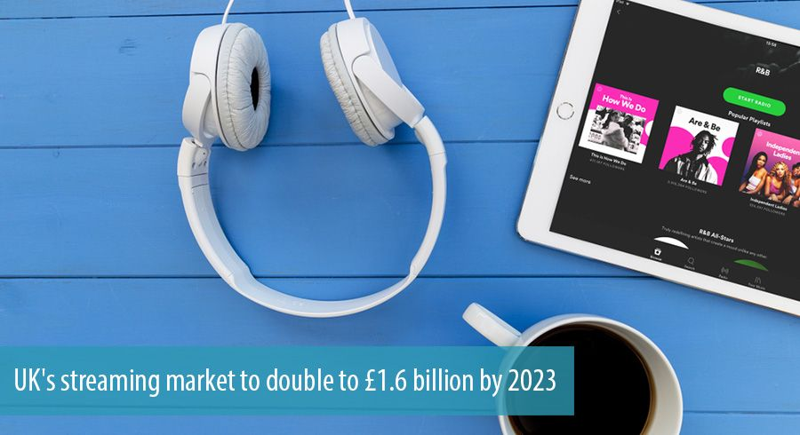 UK's streaming market to double to £1.6 billion by 2023