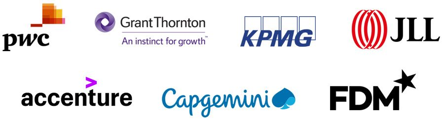 PwC, Grant Thornton, KPMG, JLL, Accenture, Capgemini and FDM Group