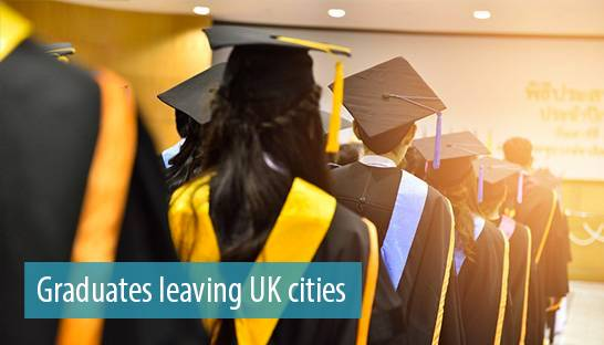 University graduates leaving UK cities for London