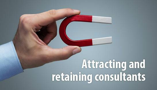 How can consulting firms attract and retain consultants?