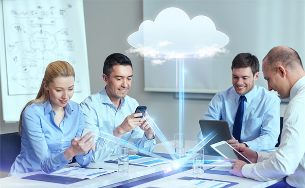 Business people working in the cloud