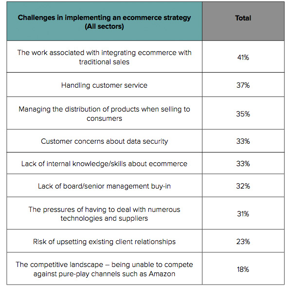 Challenges in implementing an ecommerce strategy