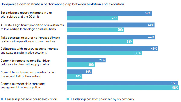Companies demonstrate a performance gap between ambition and execution