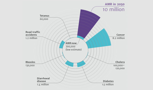 Deaths attributable to AMR every year
