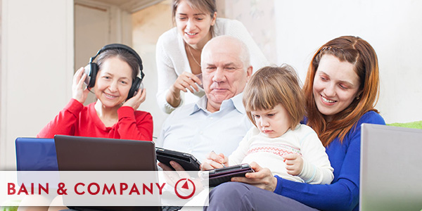 Happy multigeneration family with electronic communication devices