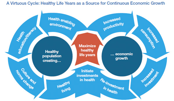 Healthy Life Years as a Source for Continuous Economic Growth