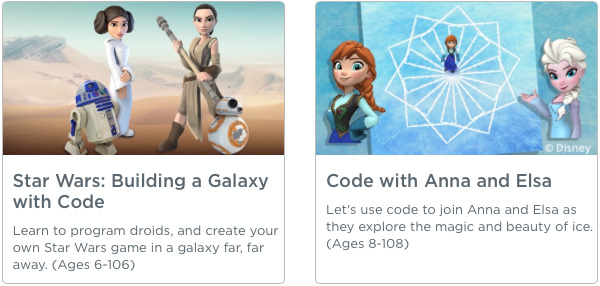 Hour of Code - Star Wars - Anna and Elsa