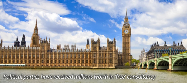 Political parties have received millions worth in free consultancy