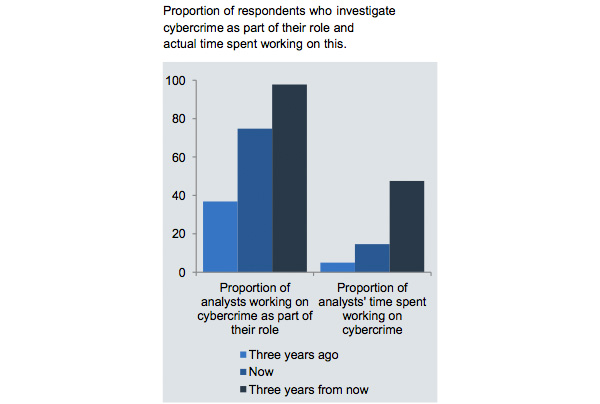 Proportion of respondents investigating cybercrime