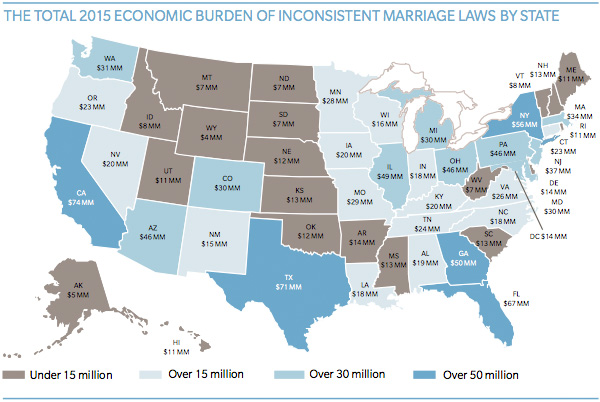 Total 2015 Economic Burden of Inconsistent Marriage Laws by State