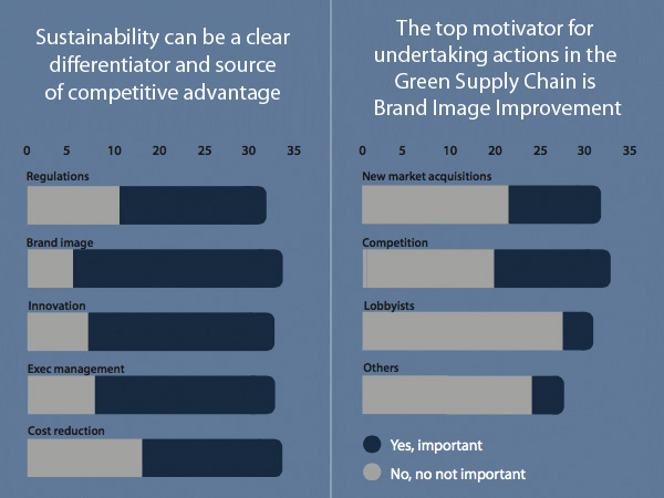 What were the main reasons for undertaking actions to move towards having a green supply chain