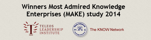 Winners Most Admired Knowledge Enterprises MAKE study 2014